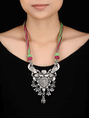Green-Maroon Thread Tribal Silver Necklace