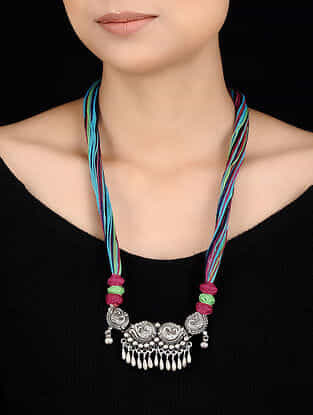 Multicolored Thread Tribal Silver Necklace with Peacock Motif