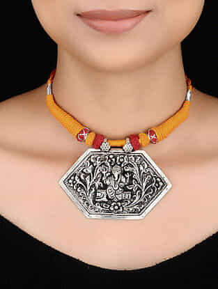 Mustard- Red Thread Tribal Silver Necklace with Lord Ganesha Motif