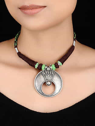 Brown-Green Thread Tribal Silver Necklace