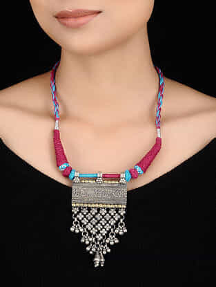 Blue-Pink Thread Dual Tone Tribal Silver Necklace