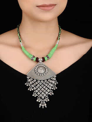 Green-Brown Thread Tribal Silver Necklace with Floral Motif