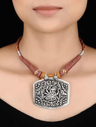 Brown-Orange Thread Tribal Silver Necklace with Lord Ganesha Motif