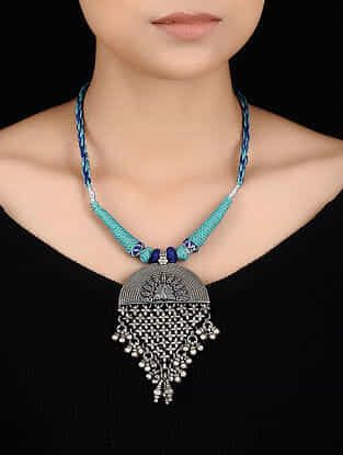 Blue Thread Tribal Silver Necklace with Floral Design