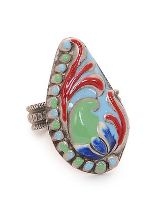 Green-Red Enameled Adjustable Silver Ring