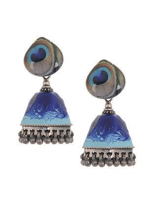 Blue Enameled Silver Jhumkis