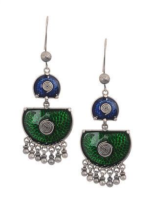 Green-Blue Enameld Silver Earrings