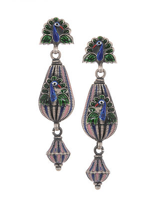 Pink-Blue Enameled Silver Earrings with Peacock Design