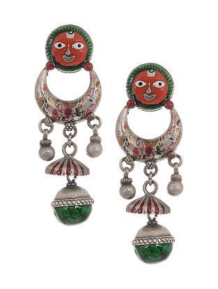Red-Green Enameled Silver Earrings