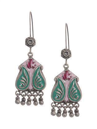 Green-Pink Enameled Silver Earrings