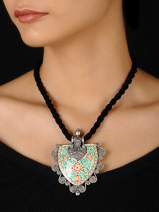 Multicolored Enameled Silver Thread Necklace