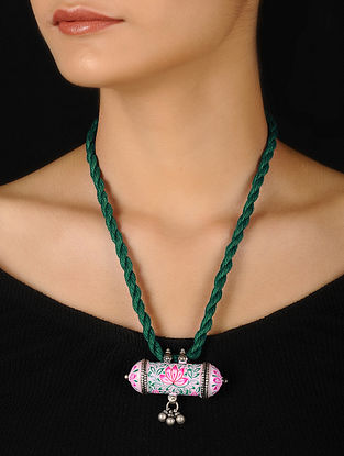 White-Green Enameled Silver Thread Necklace