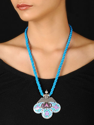 Blue-Pink Enameled Silver Thread Necklace