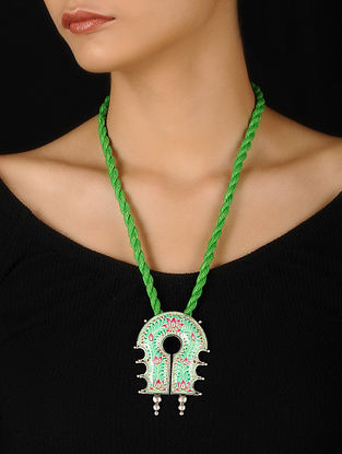 Green-Pink Enameled Silver Thread Necklace