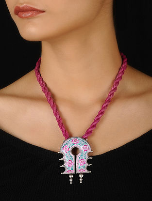 Pink-Blue Enameled Silver Thread Necklace