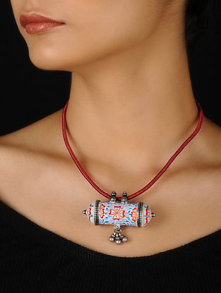 Red-White Enameled Silver Thread Necklace