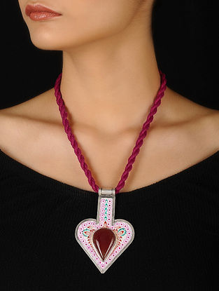 Pink-White Enameled Silver Thread Necklace