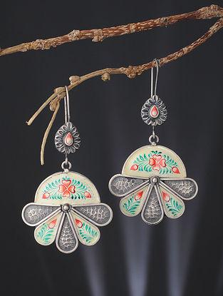 White-Green Enameled Silver Earrings