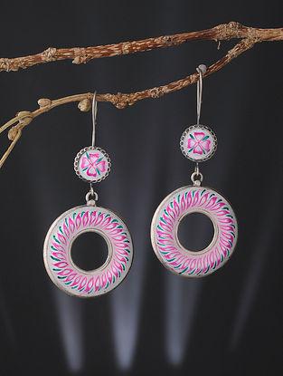 White-Pink Enameled Silver Earrings