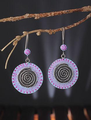 Blue-Pink Enameled Silver Earrings