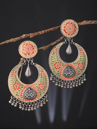 Cream-Orange Enameled Silver Earrings