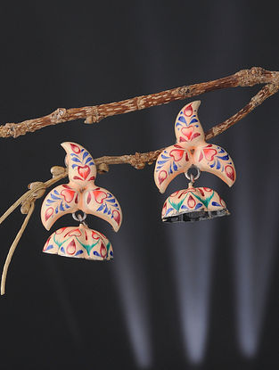 Cream-Red Enameled Silver Jhumkis