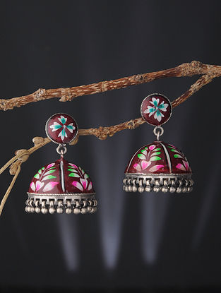 Red-Pink Enameled Silver Jhumkis