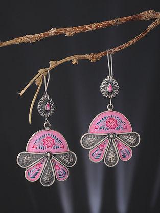 Pink-Blue Enameled Silver Earrings