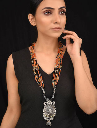 Black Orange Dual Tone Tribal Silver Necklace