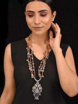 Multicolored Dual Tone Tribal Silver Necklace