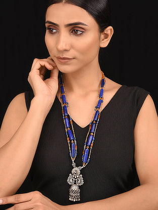 Orange Blue Tribal Silver Necklace
