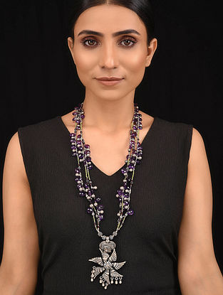 Purple Green Tribal Silver Necklace