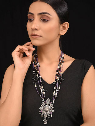 Purple Black Pearl Beaded Tribal Silver Necklace