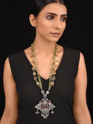 Orange Green Tribal Silver Necklace