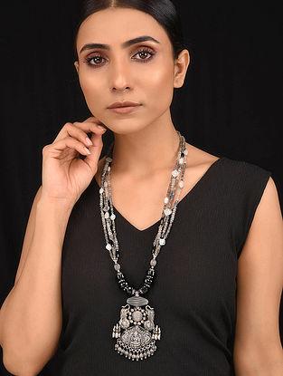 Grey Black Tribal Silver Necklace