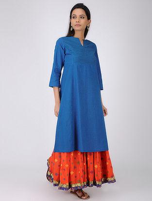 Blue Pintuck Handloom Cotton Kurta