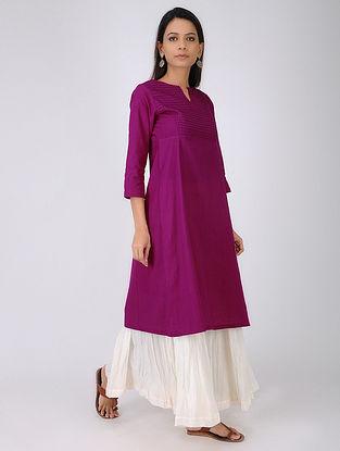Purple Pintuck Handloom Cotton Kurta