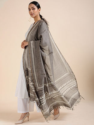 Kashish-Ivory Block-printed Chanderi Dupatta