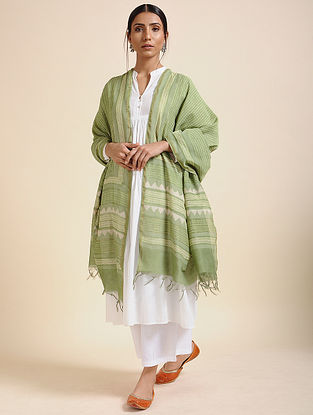 Green-Ivory Block-printed Chanderi Dupatta
