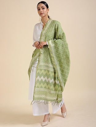 Green-Ivory Block-printed Chanderi Dupatta