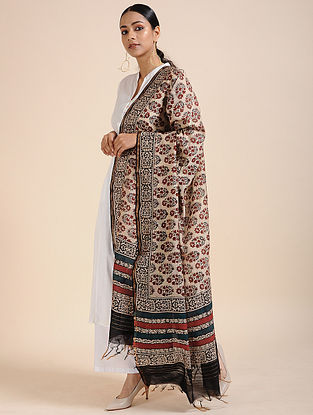 Beige-Red Block-printed Chanderi Dupatta