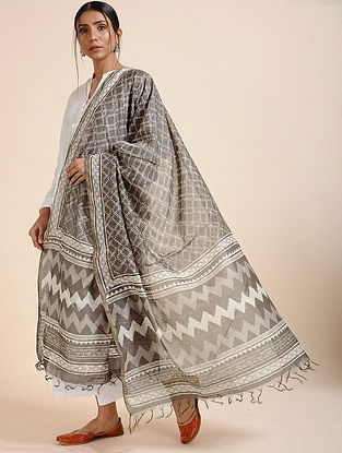 Kashish-Ivory Block-printed Chanderi Dupatta