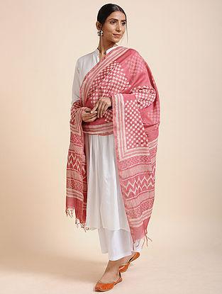 Pink-Ivory Block-printed Chanderi Dupatta