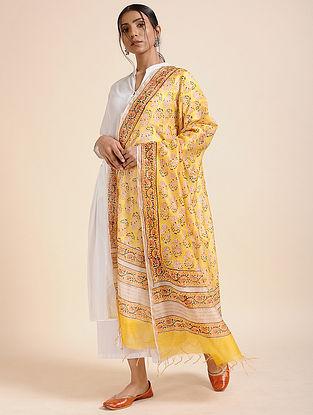 Yellow-Red Block-printed Chanderi Dupatta