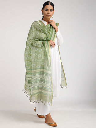 Green-Ivory Block-Printed Kota Silk Dupatta with Zari Border