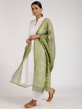 Green Block-Printed Kota Silk Dupatta with Zari Border