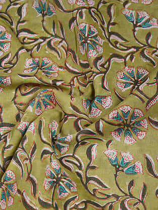 Green-Blue Block Printed Cotton Fabric