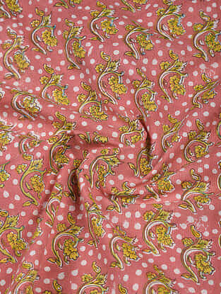 Pink-Yellow Block Printed Cotton Fabric