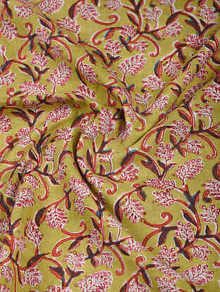 Green-Red Block Printed Cotton Fabric