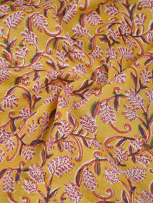 Yellow-Pink Block Printed Cotton Fabric